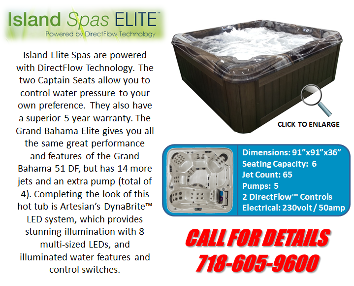 Hot Tub Spa Island Spas Grand Bahama 51 DF Artesian Spas Staten Island Pool and Spa