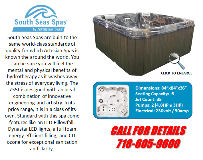 Hot Tub Spa South Seas Spas 735L Artesian Spas Staten Island Pool and Spa