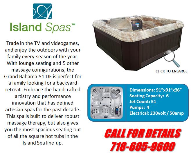 Hot Tub Spa Island Spas Grand Bahama 51 DF Artesian Spas Staten Island Pool and Spa
