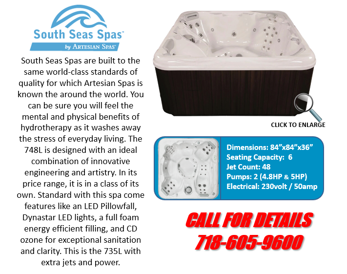 Hot Tub Spa South Seas Spas 748L Artesian Spas Staten Island Pool and Spa